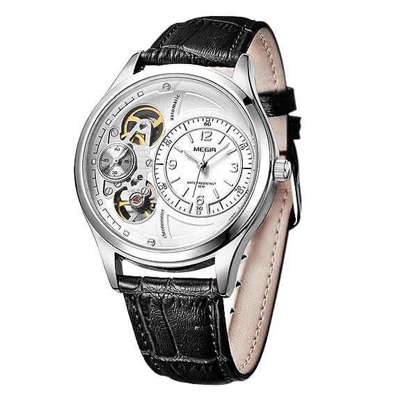 Megir cuarzo relojes automático de la segunda mano Running Negro Correa de piel: Amazon.es: Relojes