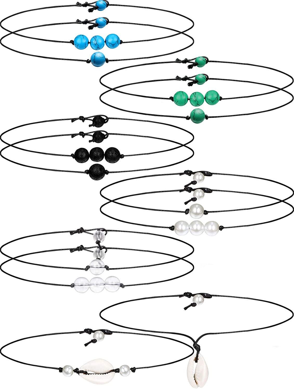 12 Piezas Gargantilla Collar de Sola Perla Collar de Concha Perla Artificial Gargantilla de Turquesa Cuerda de Cuero en Negro para Mujeres Chicas, Estilos Variados