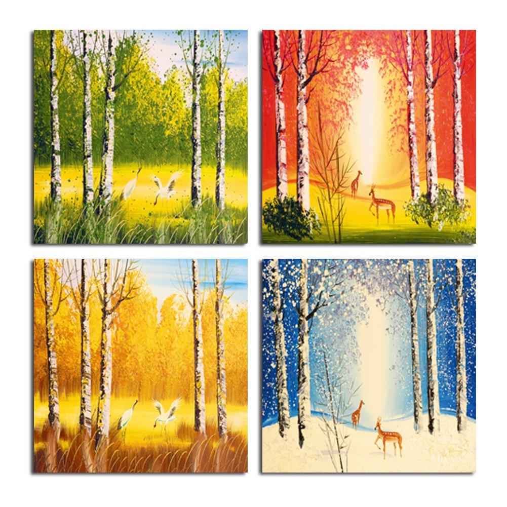 Amazon.com: Shuaxin 4 Seasons Landscape Forest Print on Canvas ...