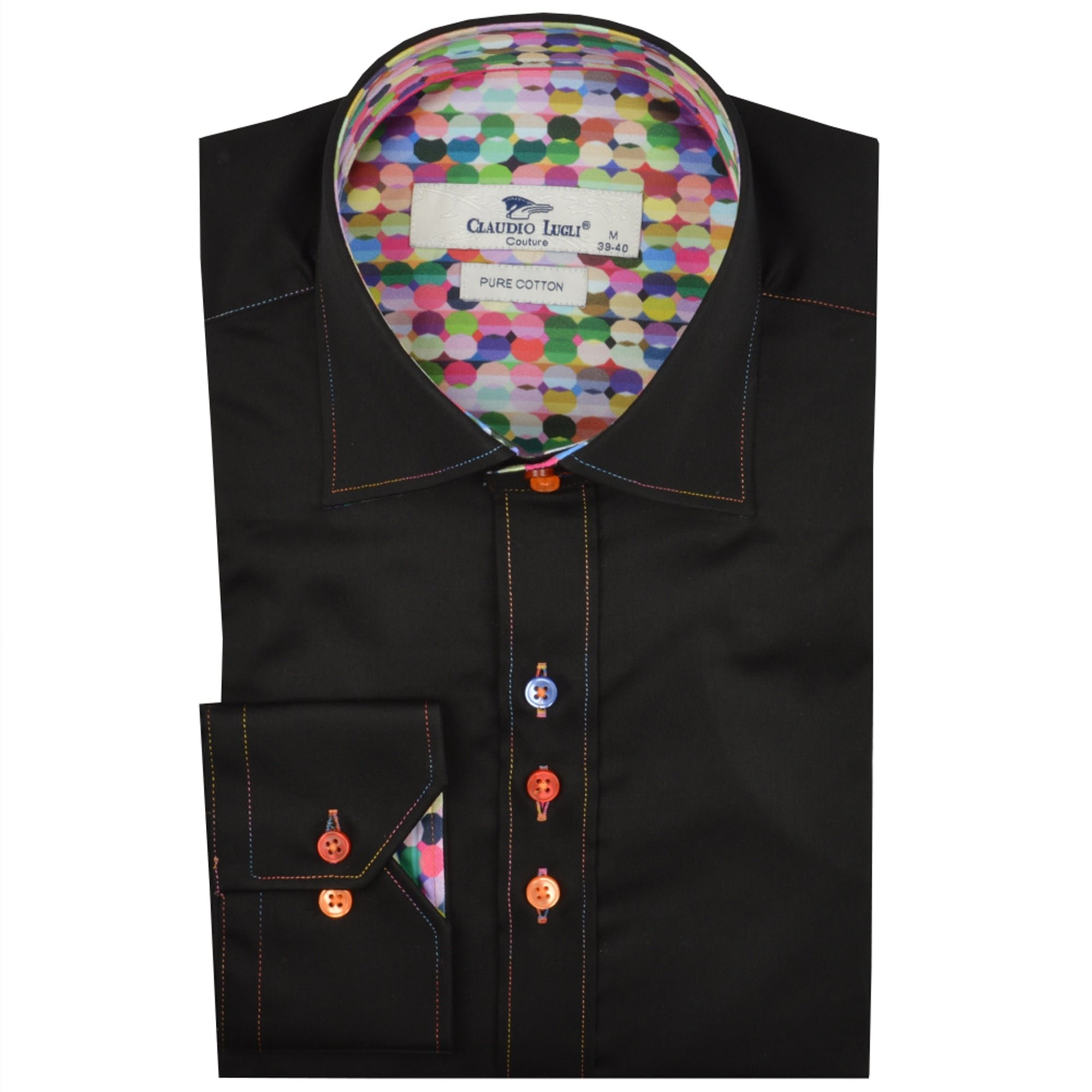 Claudio Lugli Balloon Print Trim Mens Shirt Luxury Long Sleeve Casual Party Wedding Cotton CP6229 2XLarge Black