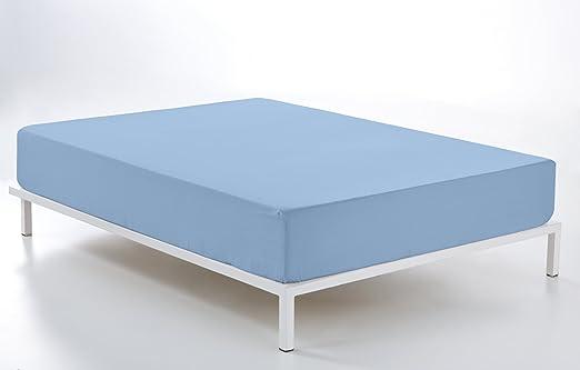 ESTELA - Sábana Bajera Ajustable Combi Color Azul Celeste - Cama ...