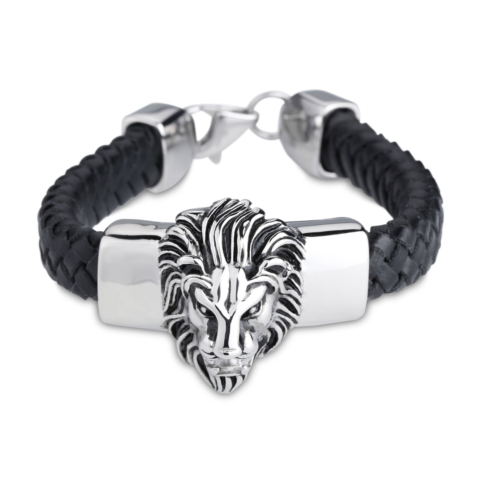 Zhiyuan Black Braided Leather Men's Bracelet with Lion Head