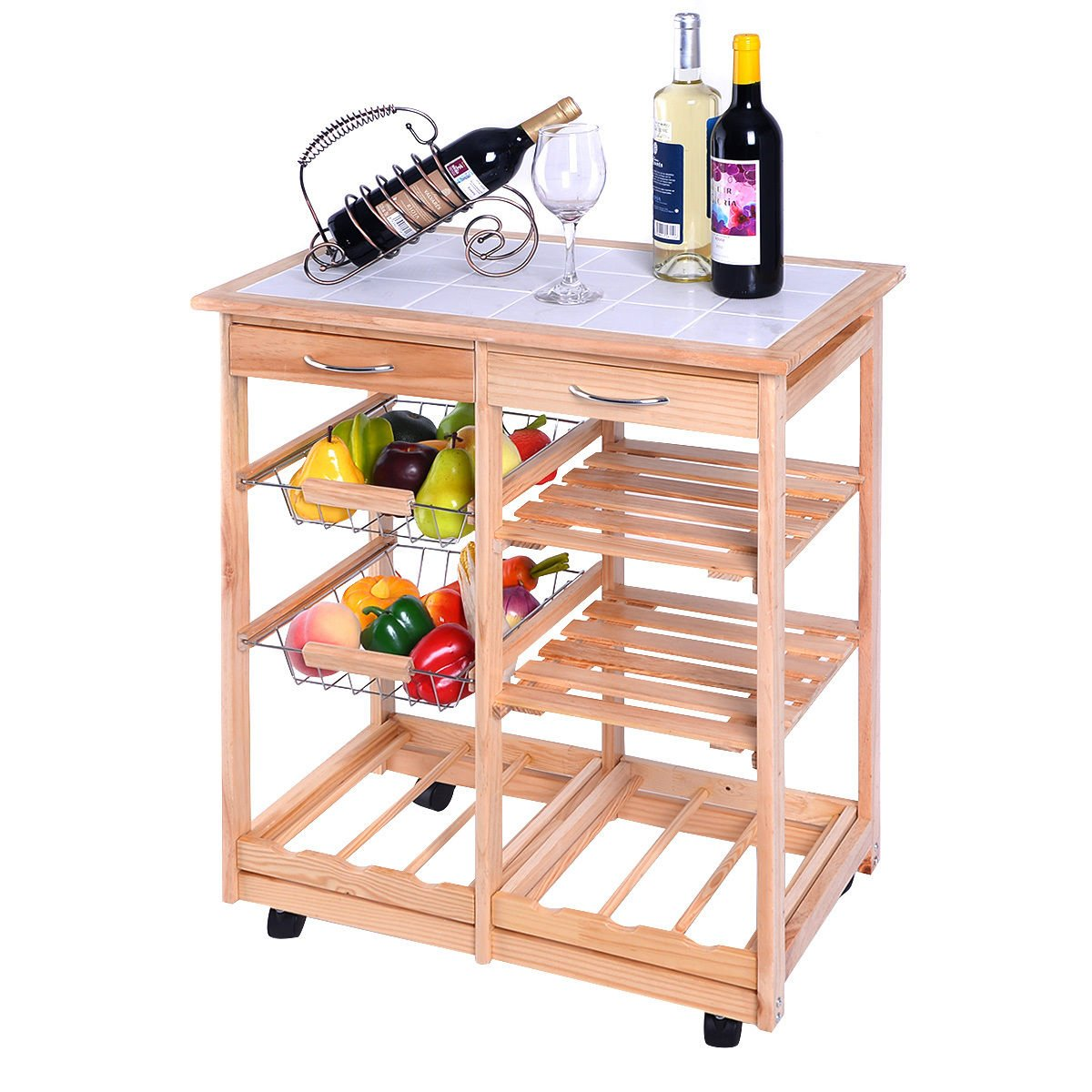 Rolling Wood Kitchen Trolley Cart Dining Storage Drawers Stand Durable