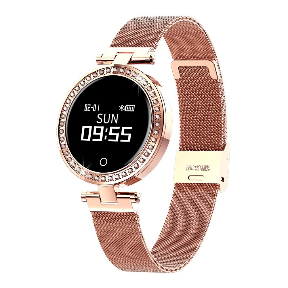OOLIFENG Women Smart Watch with Pedometer, IP68 Waterproof Bracelet with Heart Rate Blood Pressure Monitor Calorie Step Counter,Gold