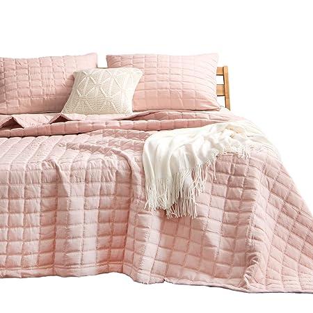 Kasentex Quilt Bedding Coverlet Blanket Set, Machine Washable, Ultra Soft, Lightweight, Stone Washed, Detailed Stitching   Hypoallergenic   Solid Color, King + 2 Shams, Pink by Kasentex