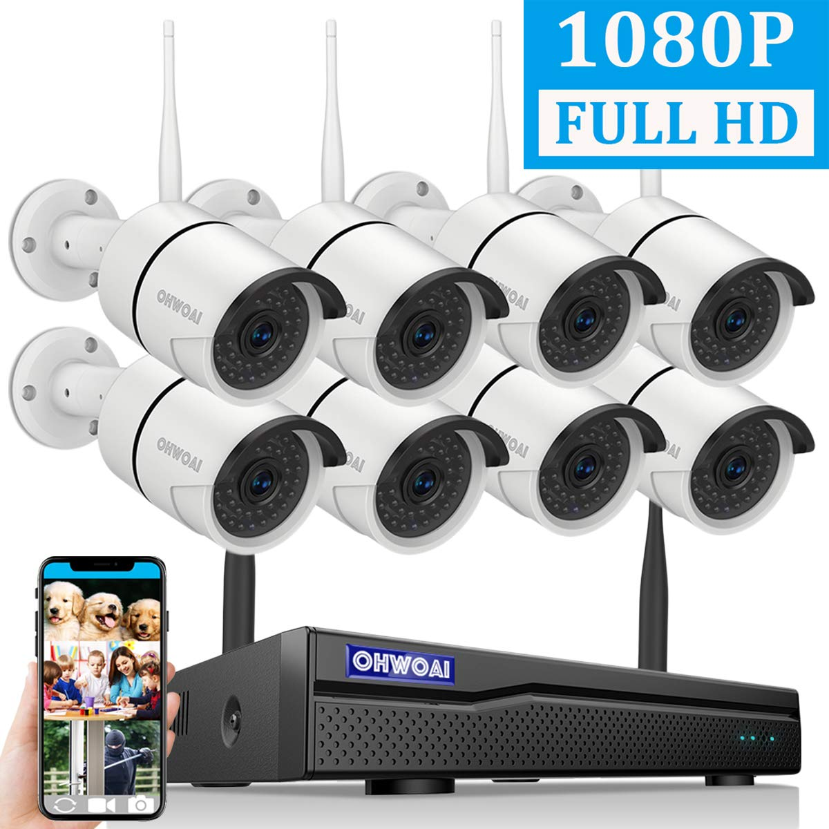 2019 Newest OHWOAI Security Camera System Wireless, 8CH 1080P NVR,8Pcs 1080P HD Outdoor Indoor IP Cameras,Home CCTV Surveillance System No Hard Drive Waterproof,Remote Access,Plug Play,Night Vision.