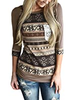 AlvaQ Women 3/4 Sleeve Striped Pattern With Front Crochet Pocket Tops Blouses