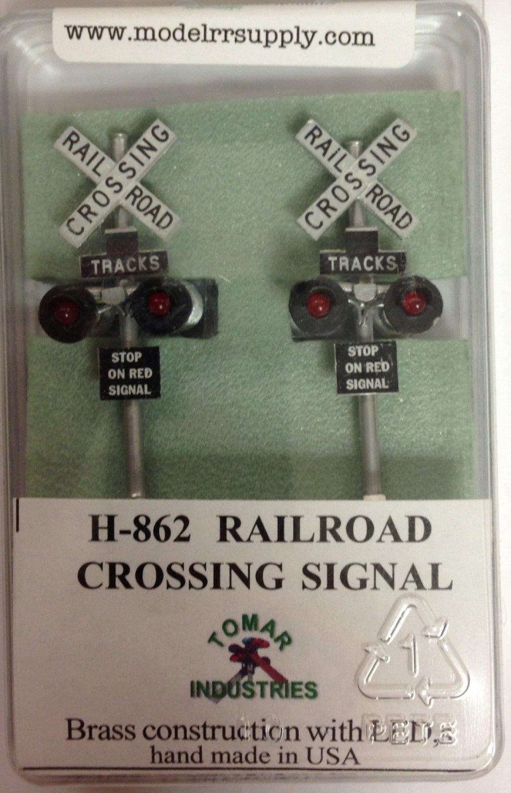 Qiyun Tomar Industries H 862 HO Railroad Crossing Signals 2 LEDs H862 Modelrrsupply