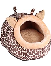 MagiDeal Soft Pet Kennel Cute Giraffe Warm Bed House Small Dog Cat Puppy House S-L - L