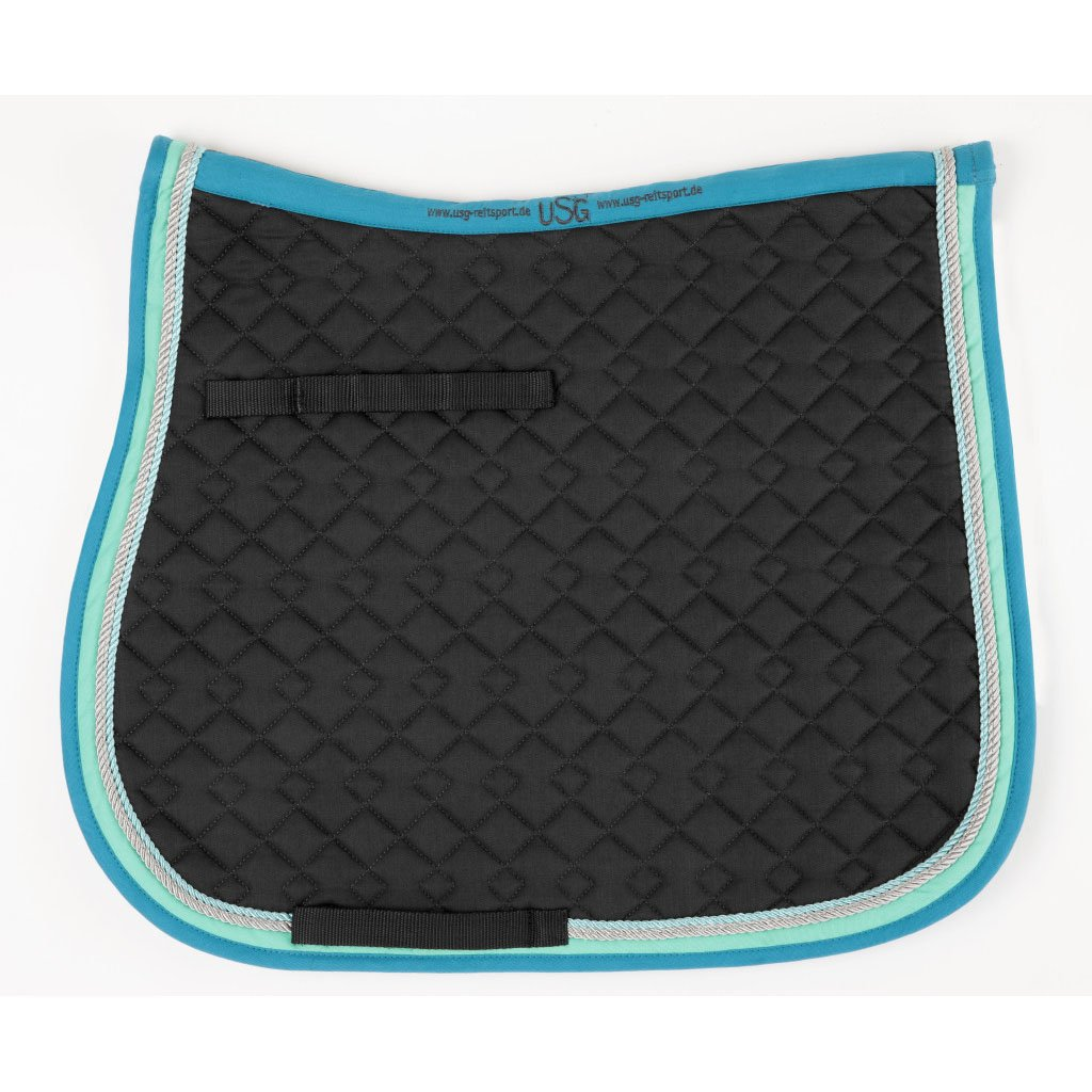 USG General Purpose Quillted Saddle Cloth with Double Rope Piping, Full, Dark Green/ Ecru/ Brown with Border, Ecru/ Light Green