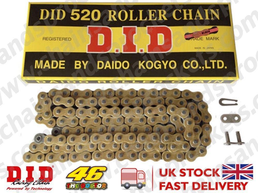 Ha standard oro & nero catena moto 520/108 maglie con collegamento split DID