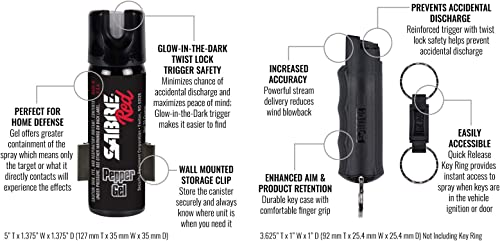 SABRE RED Home Away Self-Defense Kit Home Defense Pepper Gel, with Wall Mount Glow-in-Dark Safety, and On-the-Go Pepper Spray Keychain with Finger Grip Maximum Police Strength with UV Dye
