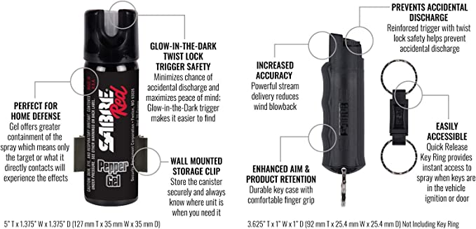Sabre Red Home Away Self Defense Kit Home Defense Pepper Gel With Wall Mount Glow In Dark Safety And On The Go Pepper Spray Keychain With