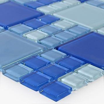 Glasmosaik Fliesen Blau Hellblau Mix Amazon De Baumarkt