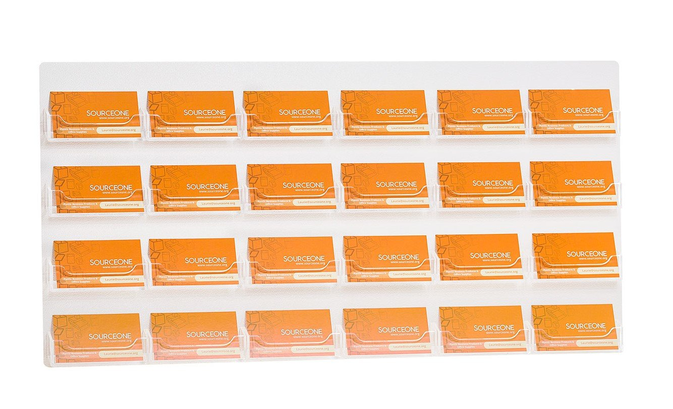 Source One 24 Pocket Wall Mount Business Card Holder Display, Clear (24P-BC-WM-Clear_6x4)