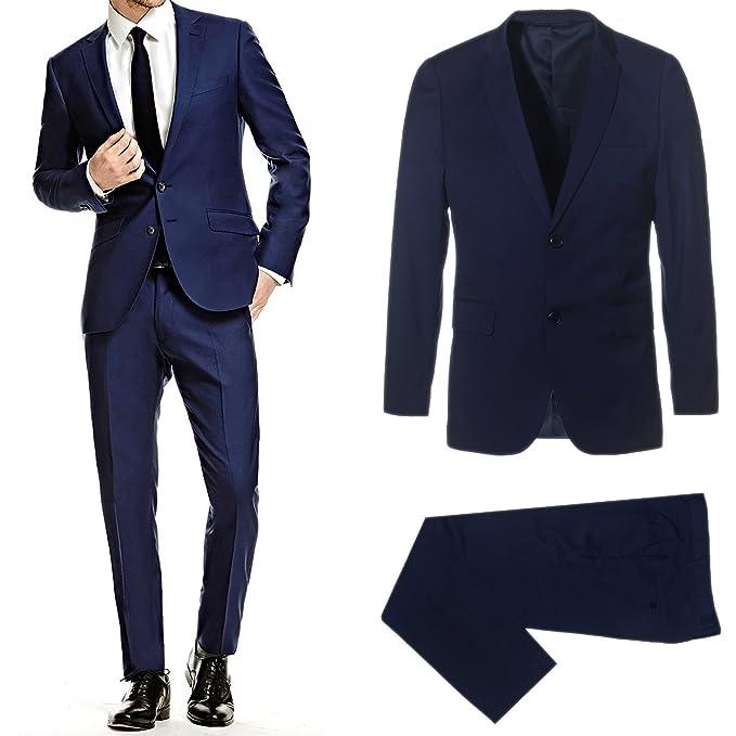 Abito Completo Uomo Blu Nero Elegante Slim Fit Vestito cerimonia Sartoriale  Casual Estivo (58 6619e3fe006