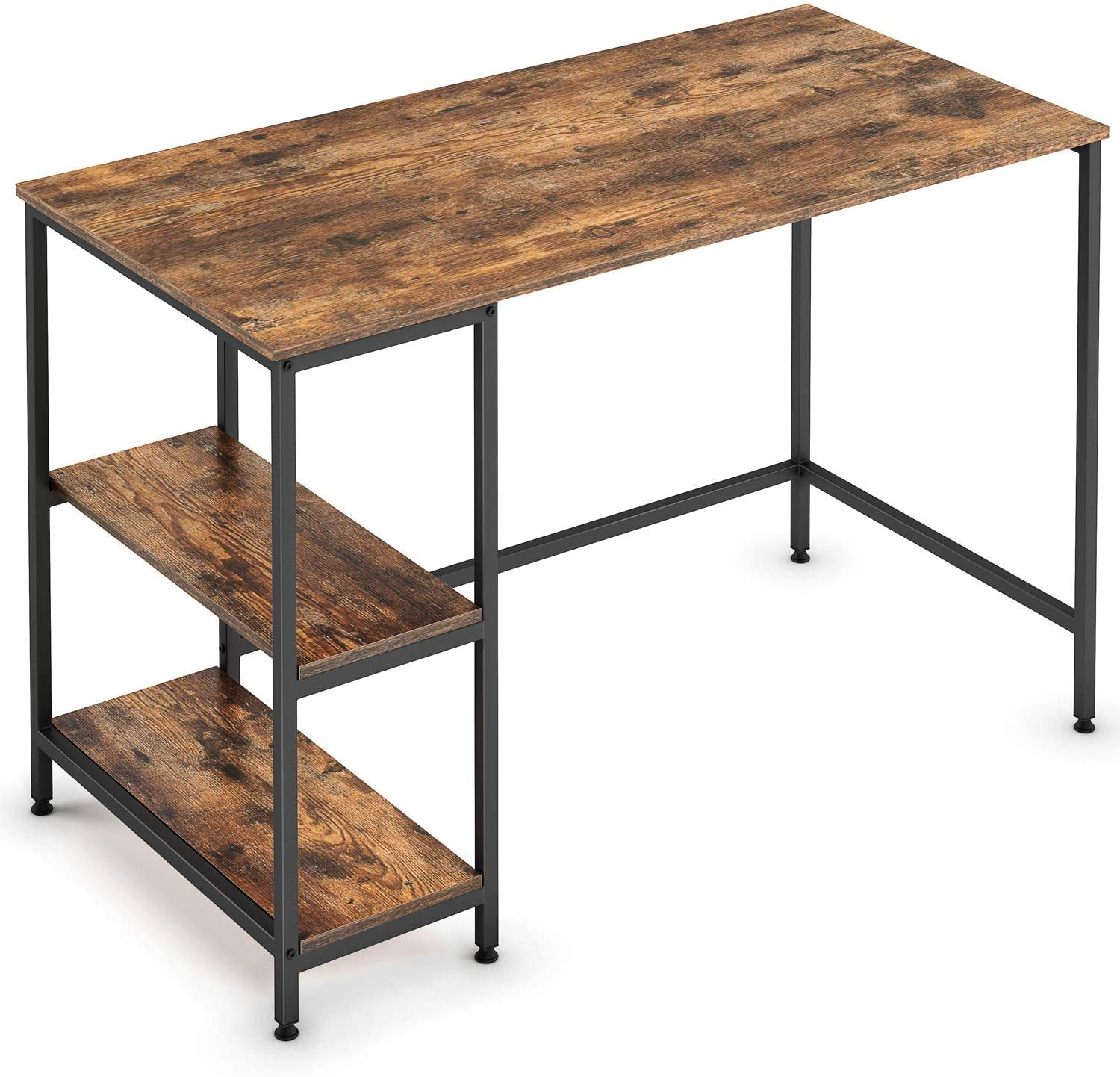 Ballucci Industrial Computer Desk, 47-Inch Study Desk, Writing and Reading Table with 2 Storage Shelves for Home Office, Workspace, Black Metal Frame
