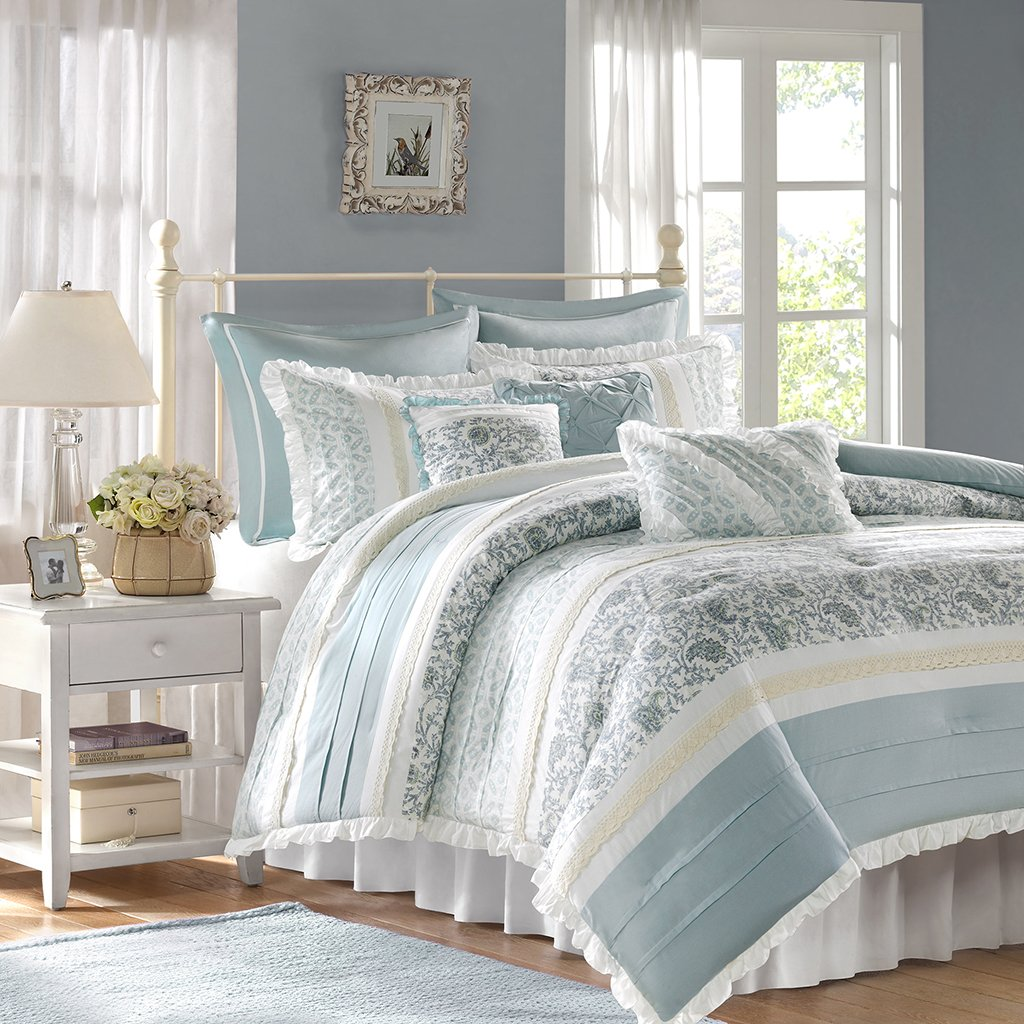 Dawn 9 Piece Cotton Percale Comforter Set, Blue