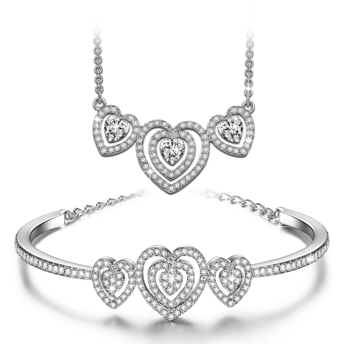 4c3a8d19aeb5c J.NINA Loving Song White-Gold Plated Pendant Crystals from Swarovski Sweet  Heart Necklace Bracelet Jewelry Set - Bib Necklace & Bangle Bracelet Best  ...