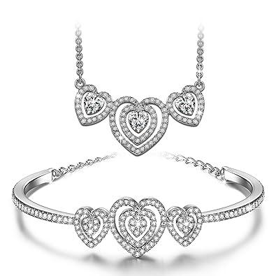J.NINA «Loving Song» De Plata De Corazón En Forma De Pulsera Collar Mujer Joyería Set. fabricados con cristales SWAROVSKI®
