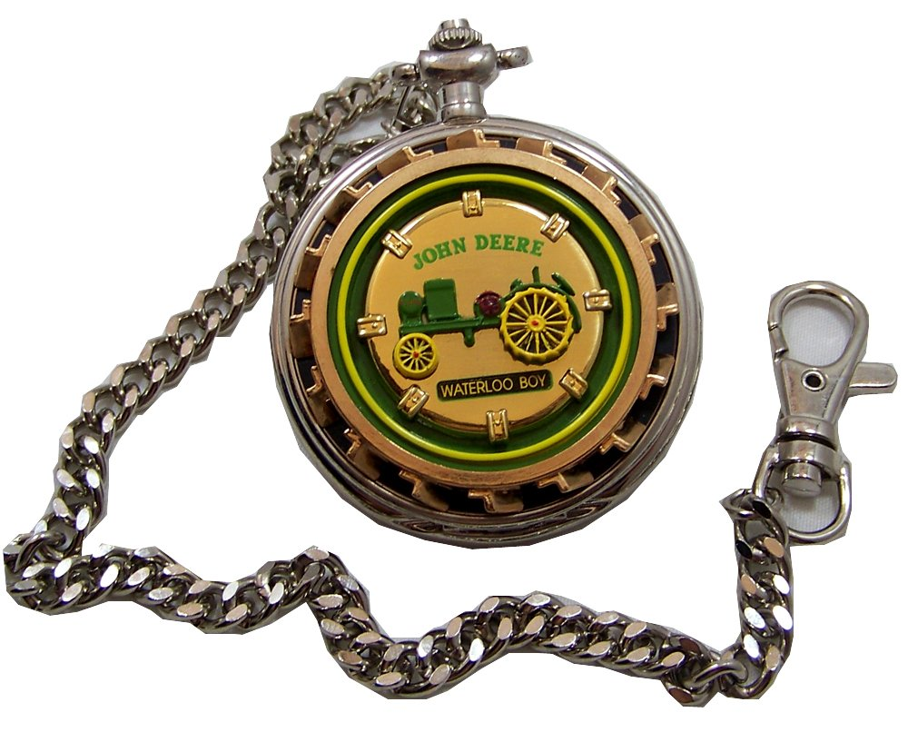 John Deere Franklin Mint Pocket Watch Waterloo Boy Tractor