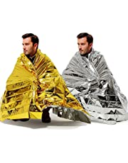 """BINHAI Emergency Thermal Blankets Foil Blanket Survival Reflective Thermal First Aid Foil Blanket 52"""" x 83""""(2-Piece)"""