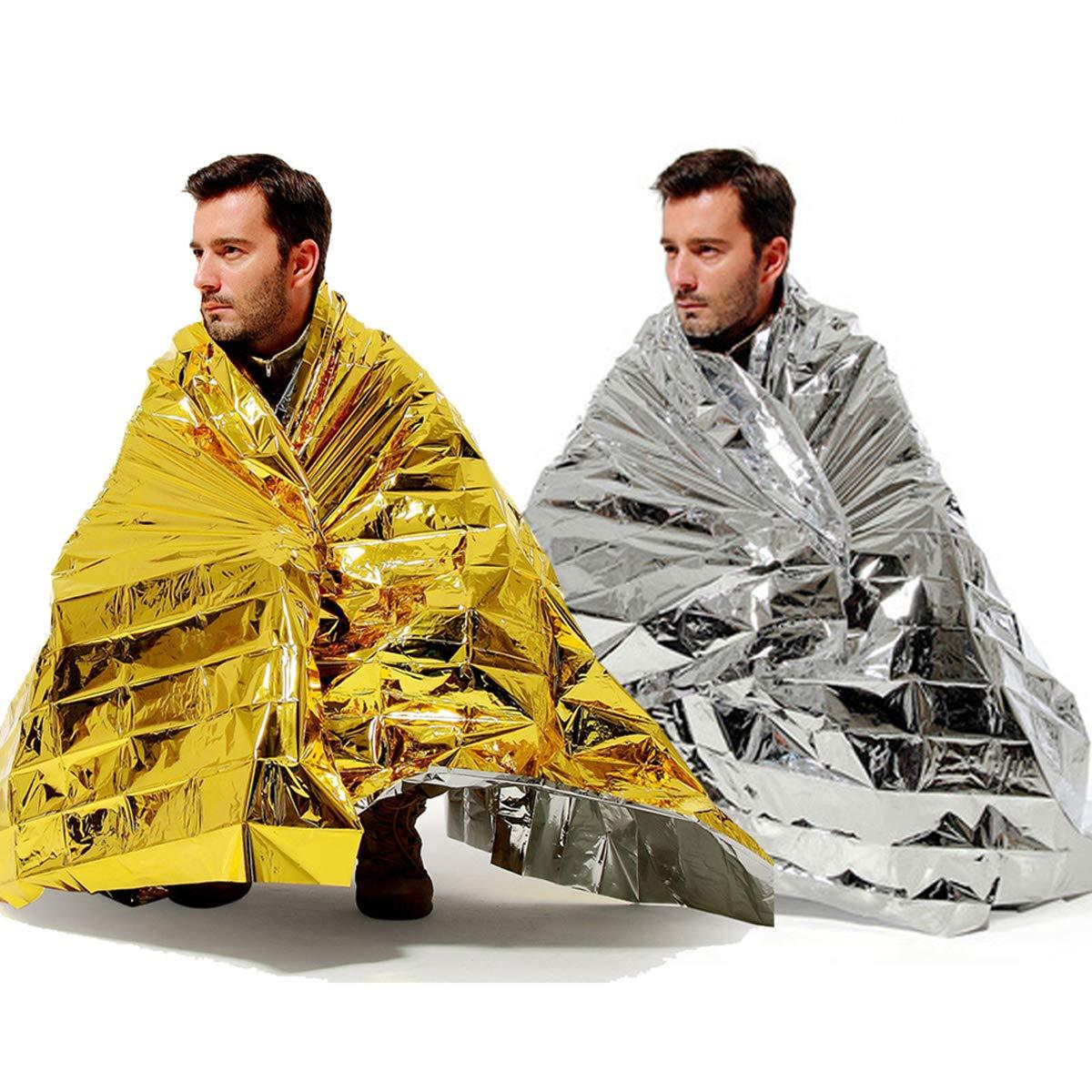 BINHAI Manta térmica de Emergencia para Supervivencia, Reflectante, Dos Tonos, 52 Pulgadas x 83 Pulgadas (2 Unidades)