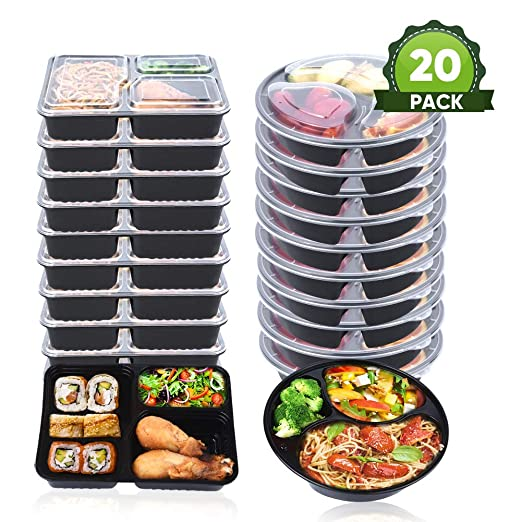 OITUGG 3 Contenedor de Compartimentos de Comida Preparada con Tapa, Apilable, Lavavajillas y Microondas, Caja de Almuerzo, Redonda y Cuadrada Dos ...