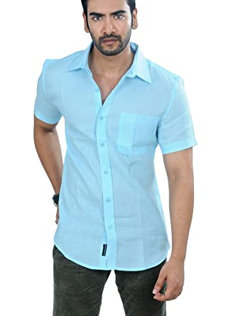 995d32723e6 PANFILO 100% Linen Celeste Blue Half Sleeve Shirt: Amazon.in ...