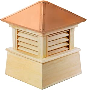 "Good Directions Manchester Louvered Cupola with Pure Copper Roof, Cypress Wood, 18"" x 22"", Quick Ship, Reinforced Rafters and Louvers, Cupolas"