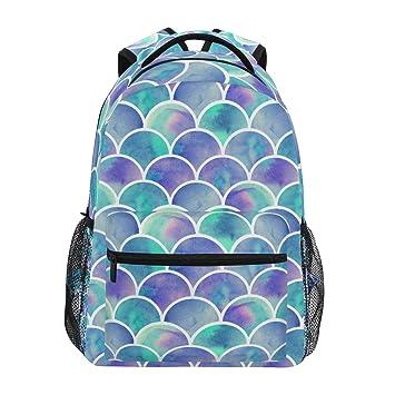 ZZKKO - Mochilas de Escamas de Sirena Coloridas para Colegio, Libro, Viajes, Senderismo, Acampada, Mochila: Amazon.es: Deportes y aire libre