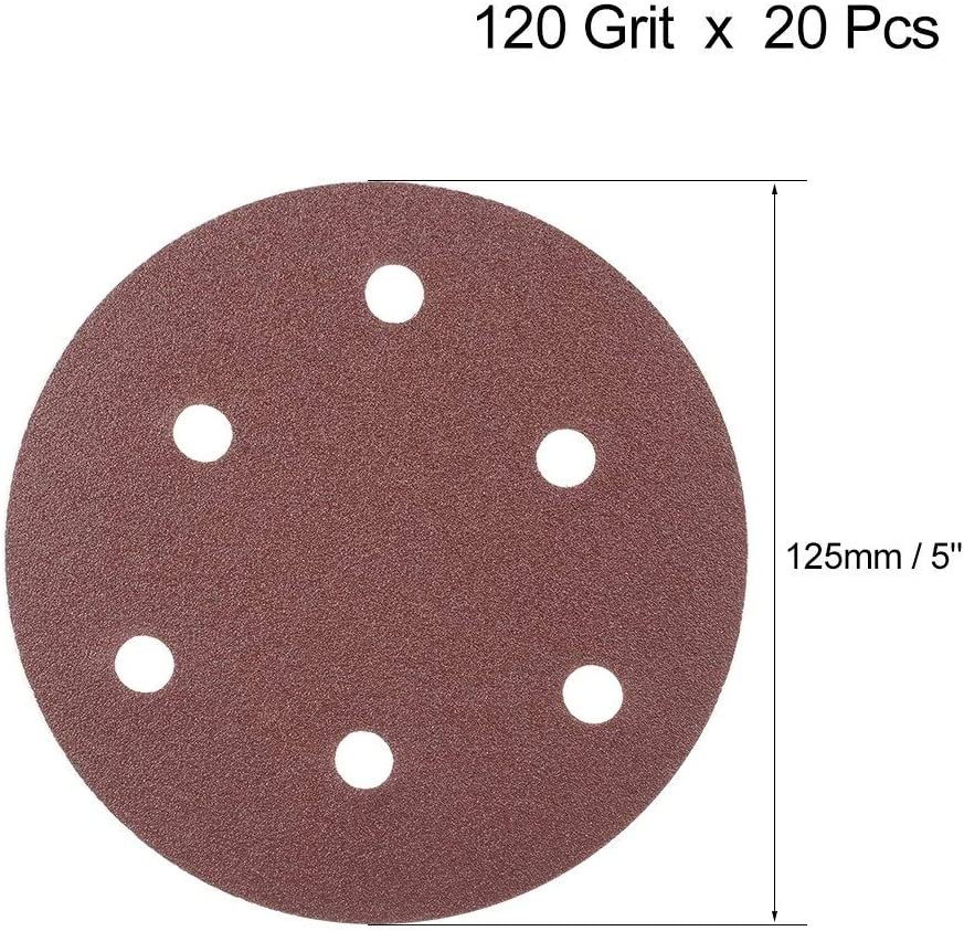 20Pcs 5-inch 6-hole hook and loop sanding disc 120-grit sandpaper for random orbit sander