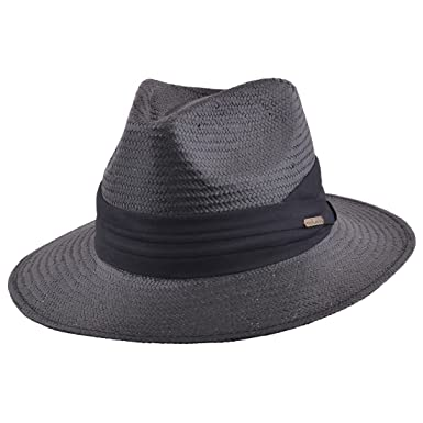 6bf3f8589d0f8 MAZ Unisex Paper Straw Crushable Foldable Summer Panama Fedora Hat with  Band and Adjustable Sweatband  Amazon.co.uk  Clothing