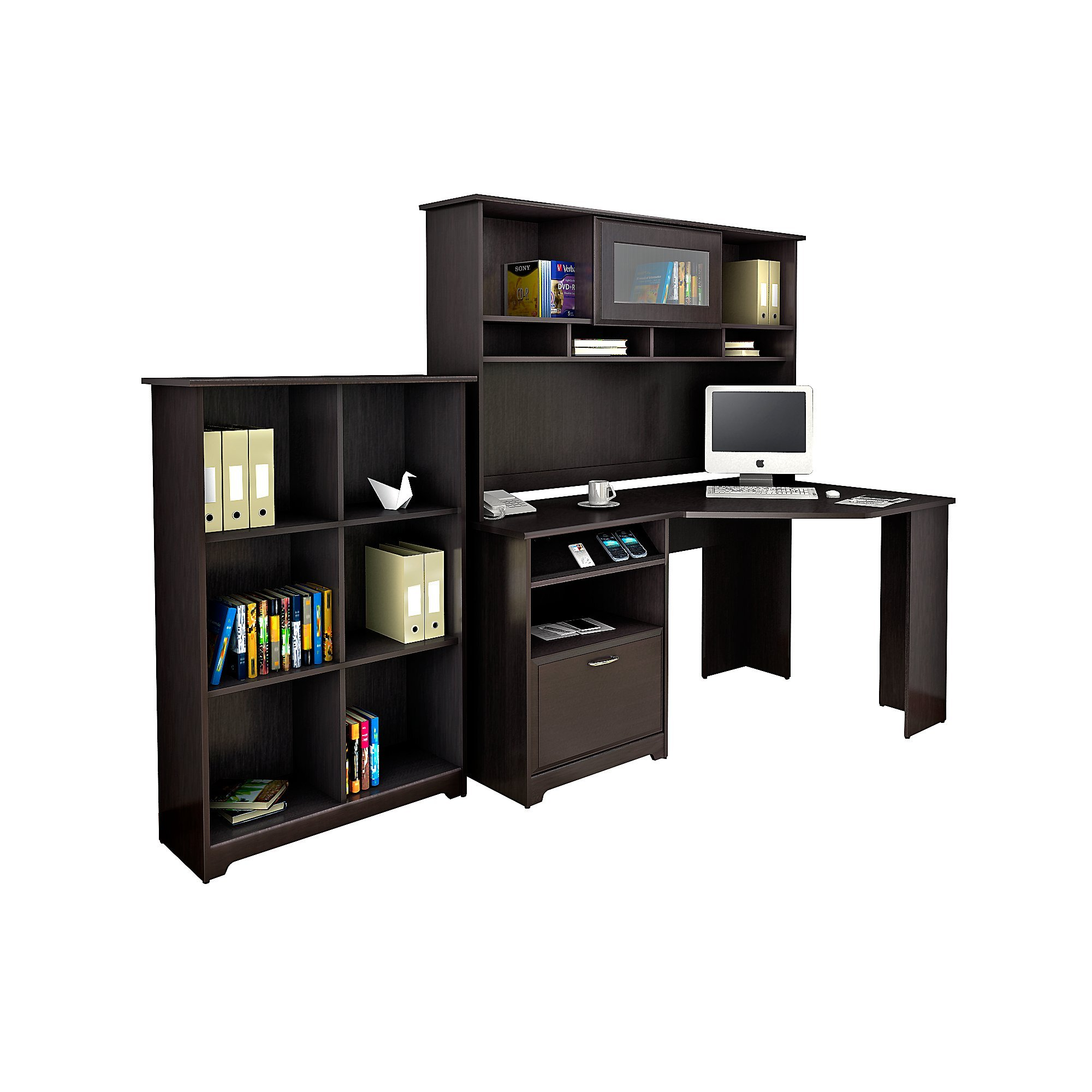 Cabot Corner Desk with Hutch and 6 Cube Bookcase
