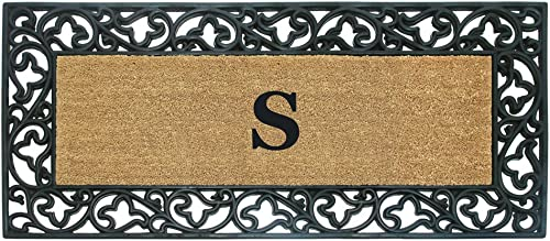 Nedia Home Acanthus Border with Rubber Coir Doormat, 24 by 57-Inch, Monogrammed S