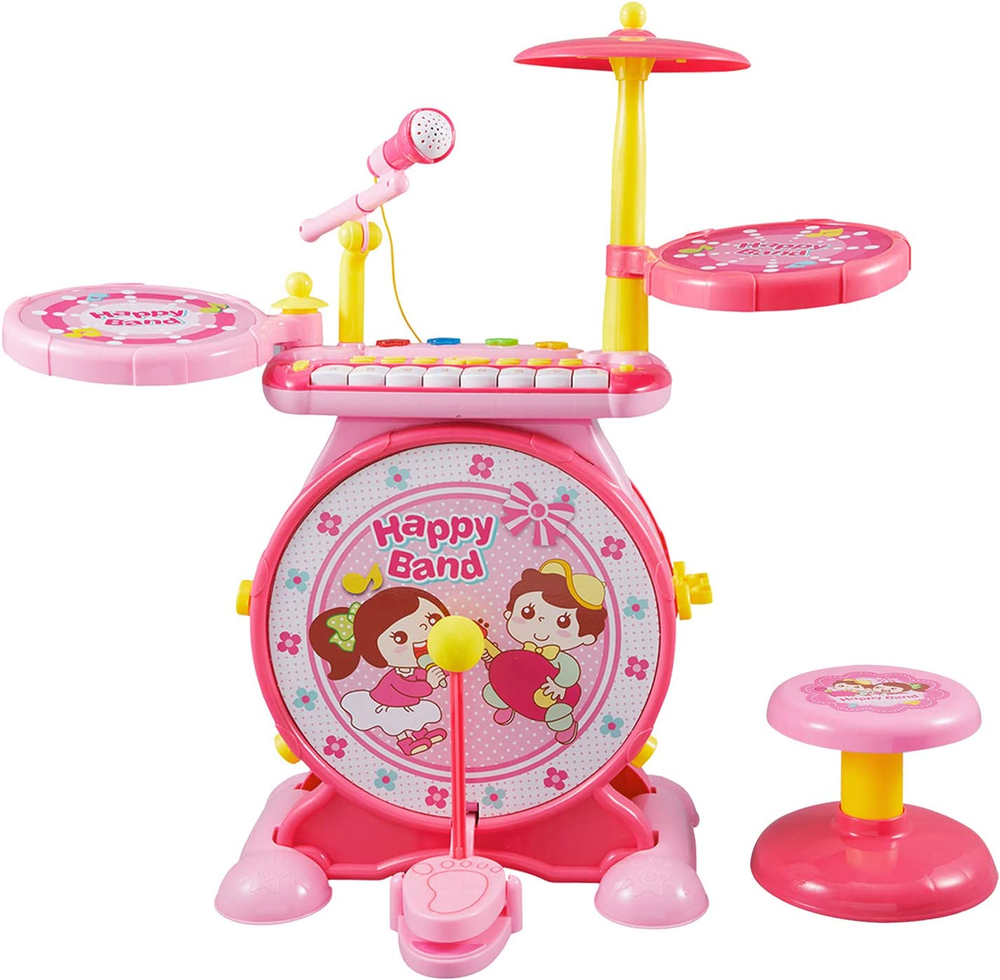 Reditmo Toddlers Toy Drum Set for Kids, with Mini Piano Keyboard, Microphone, Drum Sticks, Solid Stool, Cultivating Musical Talent, for 3-6 Years Old Baby, Children, Pink