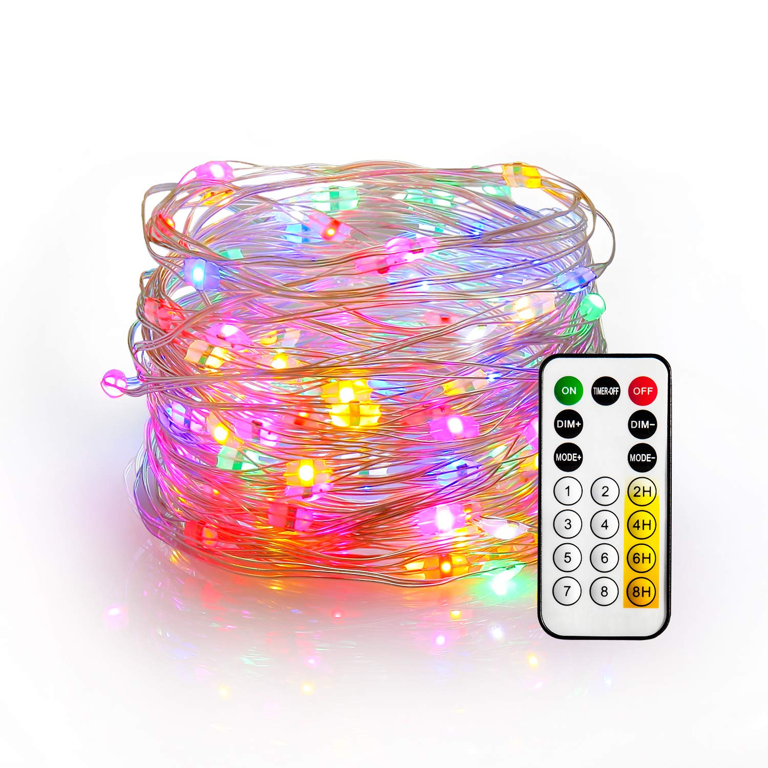 YIHONG Fairy Lights USB Plug in String Lights 33ft Firefly Twinkle Lights Multicolored String Lights for Christmas Party Decoration Wedding Festival RF Remote with 8 Dynamic Flashing Modes
