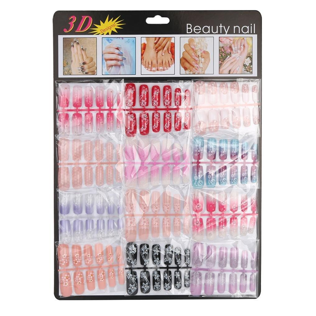 Naladoo DIY Fake Nails, 144Pcs Colorful Flowers Serise Nail Mixed Set False Nail Tips Artificial French Fake Nails Art Acrylic Manicure Gel Nail Art Decoration for Salon Personal Use Beauty Tool