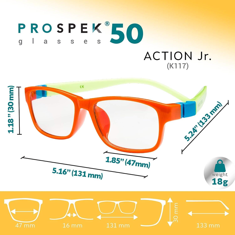 PROSPEK - GAFAS DE ORDENADOR PARA NIÑOS: gafas con filtro de luz azul para niños de más de 4 años (Acción - Naranjas)