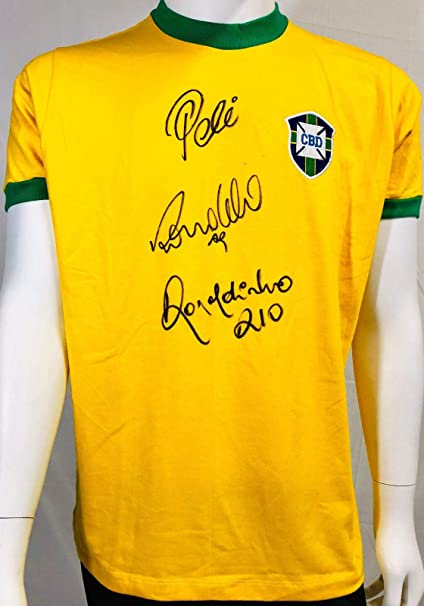 3a29dfcbded Brazil Pele, Ronaldo and Ronaldinho Signed Soccer Jersey - Auto Becket BAS  LOA - Beckett Authentication at Amazon's Sports Collectibles Store