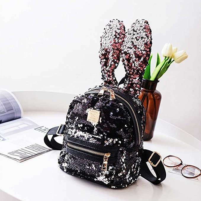 Amazon.com: FangYOU1314 Sequins Female Ears Deformed Backpack Female Cute College Cute School Bags (Color : Black): Home & Kitchen
