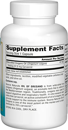 Source Naturals Wellness Oil of Oregano – Standardized to 70 Carvacrol – 60 Vegetarian Capsules