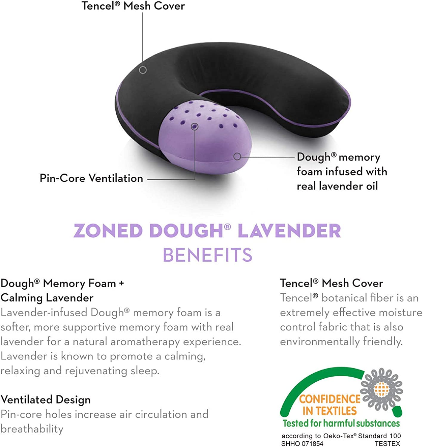 Z Zoned Dough Memory Foam Pillow Infused with Real Lavender Essential Oil Travel Neck Aromatherapy Pillow