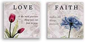 Red Blue Canvas Wall Art Love Faith Flower Poster Prints Bathroom Living room Bedroom Pictures Wall Decor Framed Ready to Hang 12*12''*2 Pieces