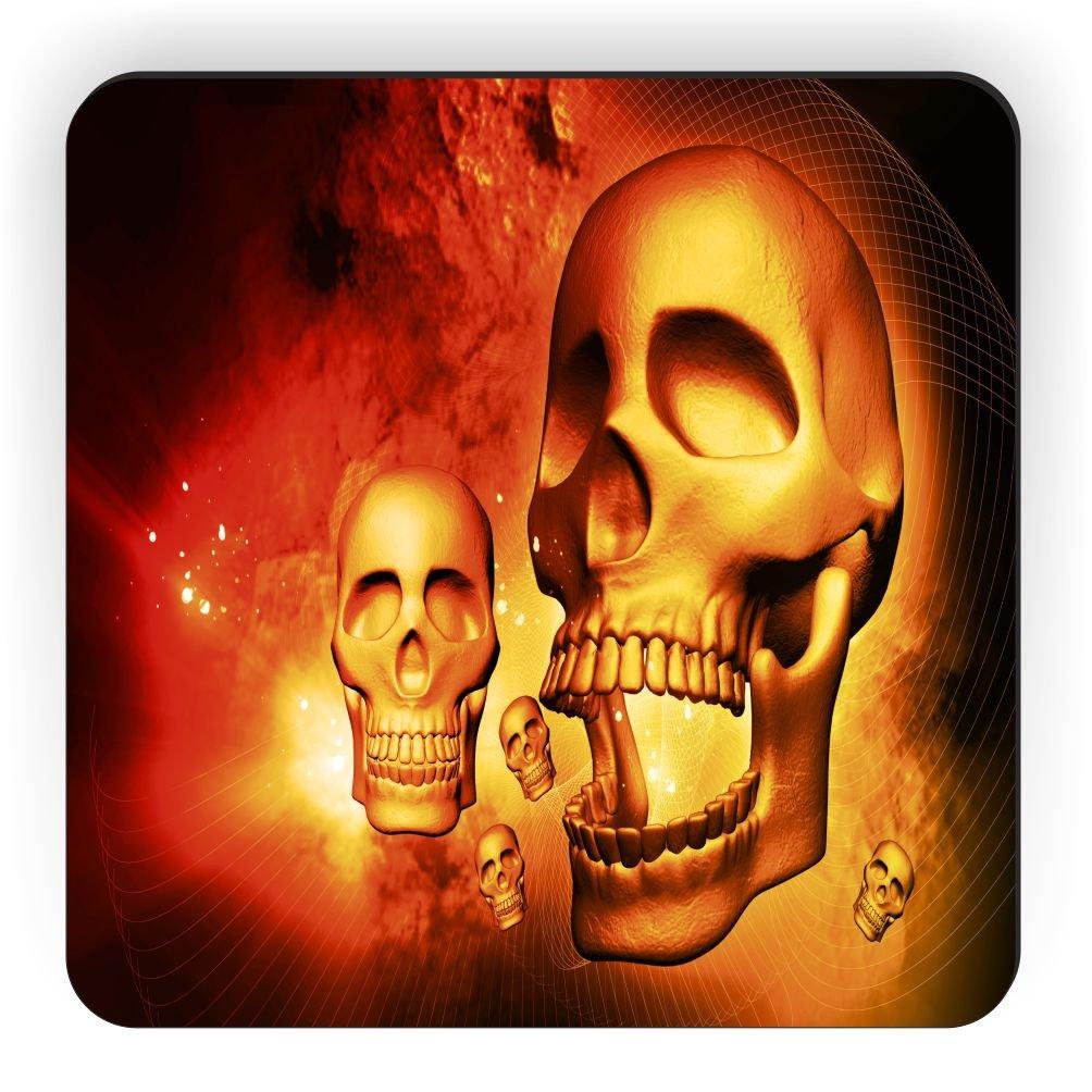 Rikki Knight Halloween Gold Glowing Skulls Design Square Fridge Magnet