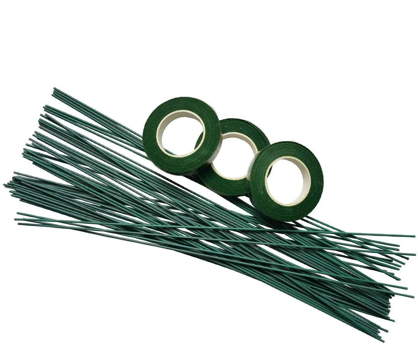 50 pz Stelo Filo Floreale Fili Fiori Fioresti di 40cm con 3 pz Verde Natro Adesivo in Tessuto per Fiori Decorativi Verde Scuro SuperHandwerk