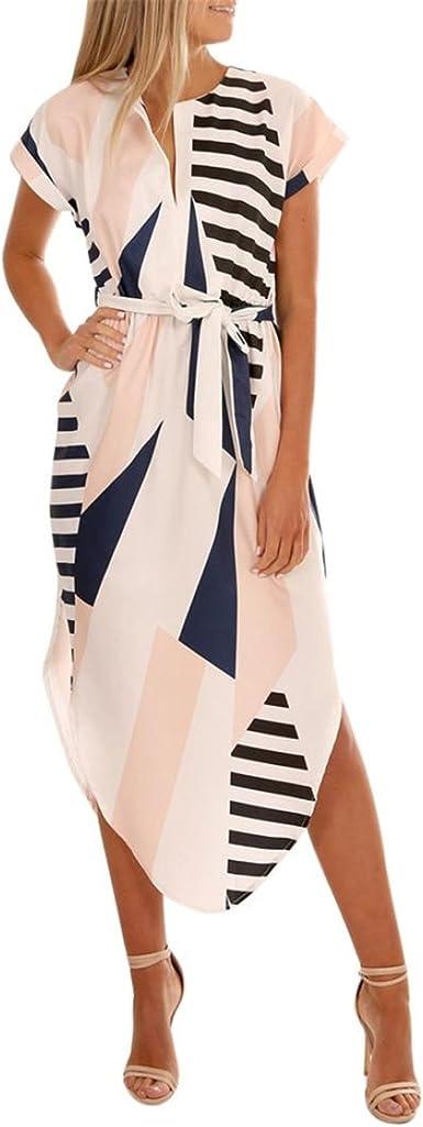 Belt Casual Loose Irregular Dress Women Short Sleeve V Neck Printed Maxi Dress