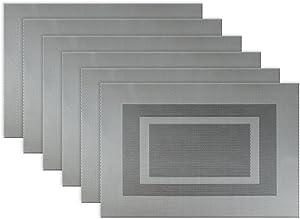 DII Vinyl Indoor/Outdoor Tabletop, Placemat Set, Bordered Gray 6 Piece