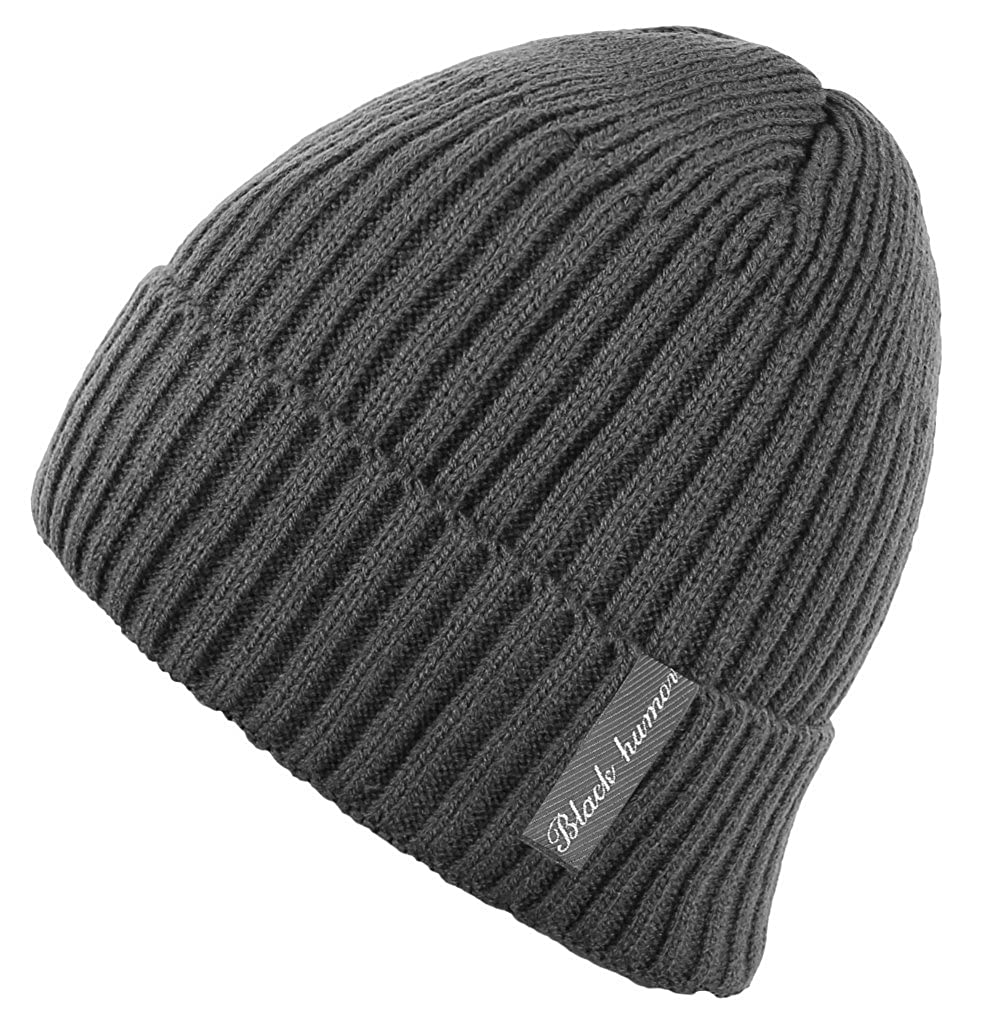 ae9bb8356 Novawo Winter Fleece Lined Beanie Hat Thick Skull Cap, Gray Without Neck  Warmer