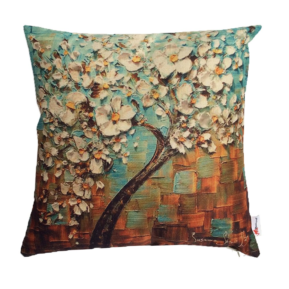 Monkeysell Oil Painting Black Large Tree and Flower Birds Cotton Linen Throw Pillow Case Cushion Cover Home Sofa Decorative 18 X 18 Inch (S118A1) Amoior MS-04511801